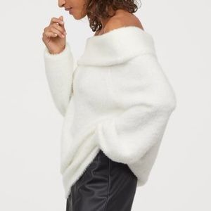 White Mohair Off the Shoulder Sweater